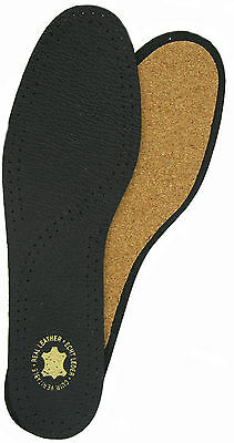 LEATHER & CORK DELUXE INSOLES Black INSOLES Sizes UK 14-16 Eur 48-50