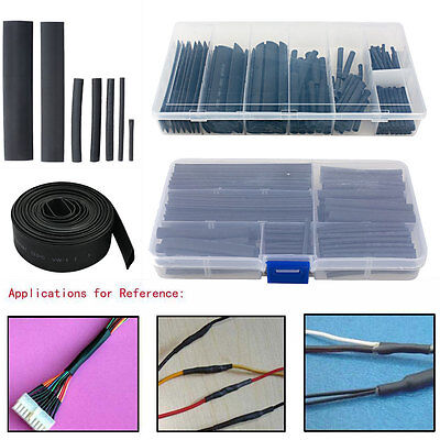 150Pcs 2:1 Black Polyolefin Heat Shrink Tubing Wire Cable Sleeving Wrap Tube Kit