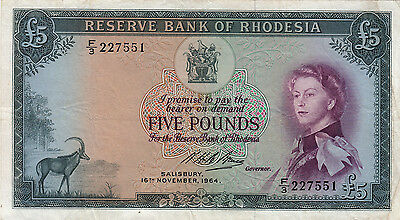 P26 1964 Reserve Bank of  Rhodesia £5 note VF Rare in good condition