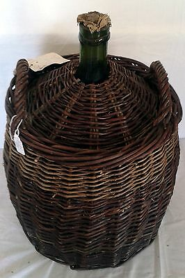 Large Green Wine Bottle - Antique French hand made wicker carrier,