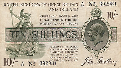 Rare T18 John Bradbury treasury note 10/- ten shillings aVF dash