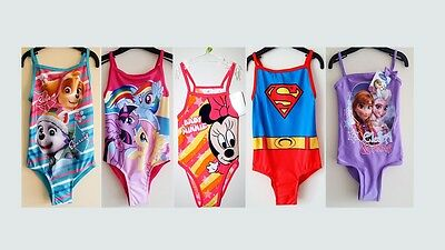 Kids Baby Girls Character Swimwear Swimsuit Childrens Swimming Costume