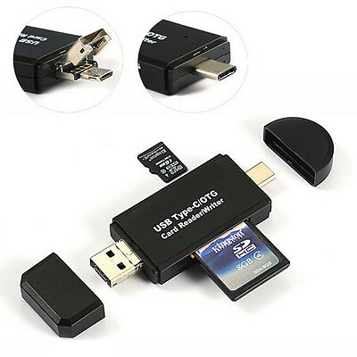 3 in 1 Micro USB OTG to USB 2.0 Adapter SD/Micro SD Card Reader standard USB O1N