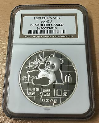 China 1989 Silver Proof 1Oz 10 Yuan Panda Coin - Slabbed Ngc Pf 69