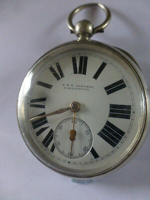 ANTIQUE SOLID SILVER   POCKET WATCH by JOHNSON of DARLINGTON