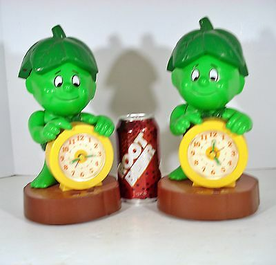 2 Vintage PILLSBURY 1985 Green Giant Little Sprout Talking Alarm Clocks 1 AS-IS