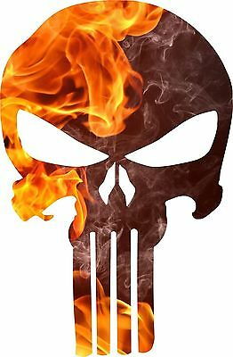 Punisher Skull Decal- Fire Flame Punisher Decal/ Free Shipping/ Various Sizes