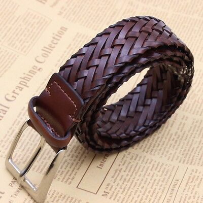 Men Genuine Leather Braided Belt Woven Pin Buckle Casual Business Work Waistband