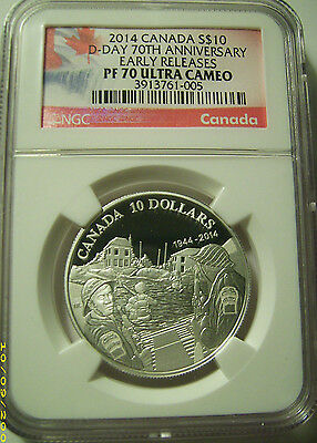 2014 Canada S$10 D-Day 70th Anniversary Silver 1/2 Oz. Silver  NGC PF70 UC ER