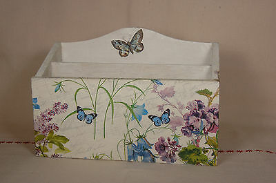 Wooden hand made small letter rack with flowers and butterfly (blue and purple)