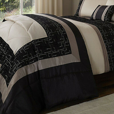 Catherine Lansfield Signature Geo Embellished Bedspread, Black, 240 x 260 Cm