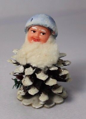 Vtg Christmas Pinecone Elf Dwarf Gnome Person Italy Spun Cotton Handpainted Mica