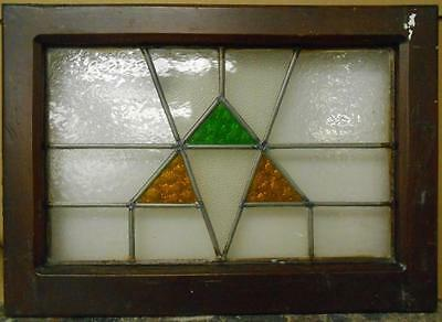 "OLD ENGLISH LEADED STAINED GLASS WINDOW Pretty Geometric 20.25"" x 14.5"""