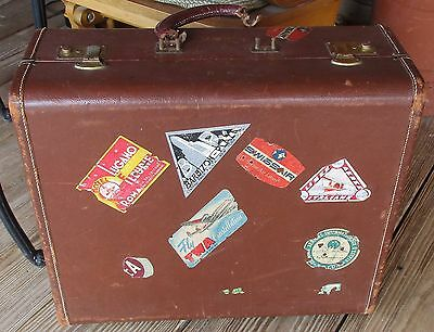 Antique Brown Leather Travel Bag Suit Case Prop Travel Stickers TWA SWISSAIR 21""