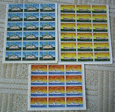 KOREA PART SHEETS OF CTO STAMPS x 3 DEPICTING SHIPS