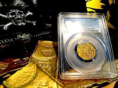 Spain 1504-55 1 Escudo Gold Cob Doubloon Pcgs 55! Doubloon