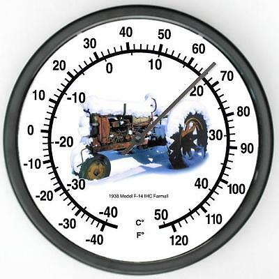 """New McCormick Farmall Tractor Wall Thermometer 10"""" Round Years 1938 F-14 IHC"""