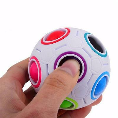 Rainbow and White Spherical Ball Shaped Magic Cube Speed Puzzle Toy Gift -6A