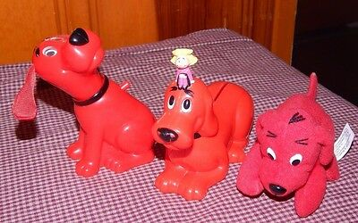 Clifford the Big Red Dog Plastic Toy Figure Floppy Ears Move + Emily ~BANK LOT