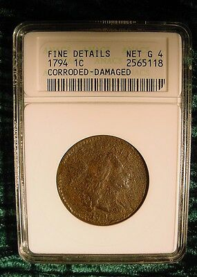 1794 Liberty Cap Large Cent Flowing Hair ANACS FINE DETAILS  2nd Year So Rare!!!
