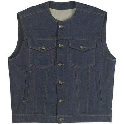 Biltwell Mens Blue Denim Prime Cut Motorcycle Riding Street Button Vest Harley