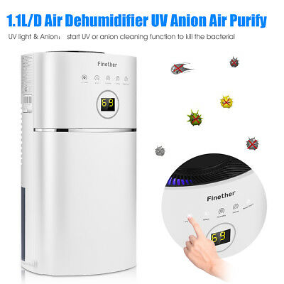 Finether 2.4L Digital Aire Deshumidificador Anion UV Purificador Húmedo Secador
