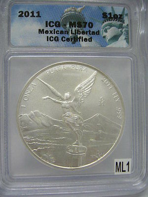 """2011 ICG-MS70 1 Onza Mexican Libertad Liberty Label   """"KEY YEAR GEM COIN"""""""