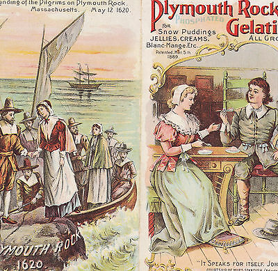 Pilgrim Mayflower Plymouth Rock Gelatine Food old 1800's Advertising Folder Card