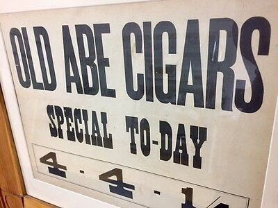Antique Old Abe Cigars sign, beautifully framed - Vintage Abe Lincoln cigar sign