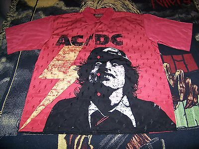 NEW Vintage 2004 AC/DC Rockware Dragonfly Button Dress Red Shirt XXL Angus Young