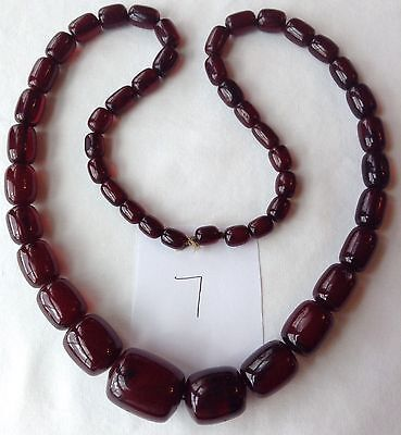 Vintage Cherry Amber Bakelite Bead Necklace Simichrome Tested Cb7
