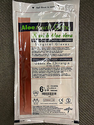(50 Pairs) Medline Aloe Touch Ortho Surgical Gloves Latex Powder Free Size 6.5
