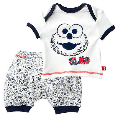 NWT Sesame Street Elmo Baby Boys Summer Pyjamas Shorts Top Size 0000 000 00 0 1