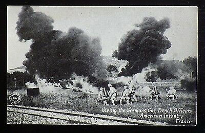 """WW1 Postcard Photo """"Giving the Germans Gas"""""""