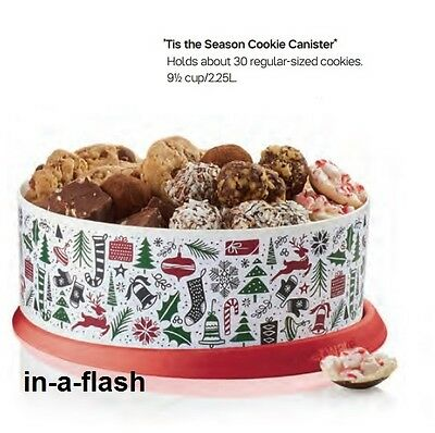 Tupperware TIS THE SEASON CANISTER Large 9.5 Cup Holiday Christmas Gift BPA Free