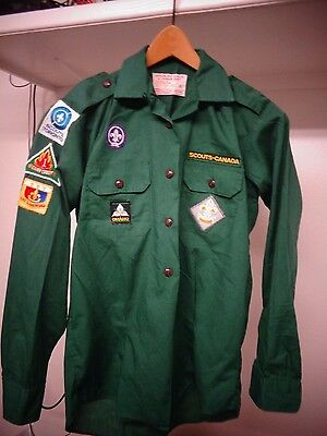 Vintage Canadian Scout shirt with patches CANADA Sz 38