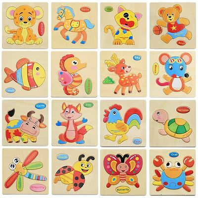 Development Baby Kids Children Wooden Educational Toys Cartoon Puzzle Picture