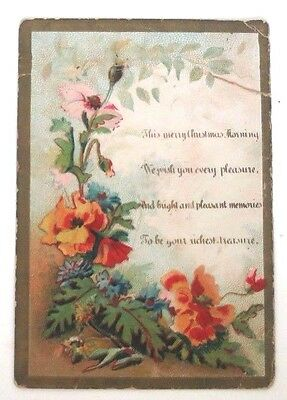 Antique Vintage Victorian Christmas Greeting Trade Card Double Sided Floral
