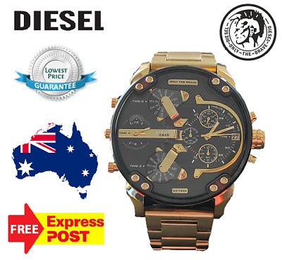 DIESEL DZ7333 MR DADDY 2.0 Gold Multiple Time Zone Chronograph mens wristWatch