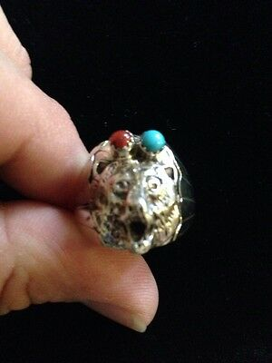 Navajo Mens Awesome Bear Turquoise Grace Smith 925 Ring Sz 11 Native American