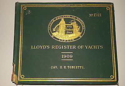 libro LLOYD'S REGISTER OF YACHTS 1909 - 1910 Copia n.1721 del cavalier Tonietti