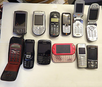 Joblot Of 12 Miscellaneous Vintage Mobile Phones Untested