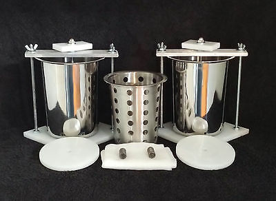 """2 CHEESE PRESSES STAINLESS STEEL 4""""  SPRING ASSISTED W FREE Soft Cheese Mold"""