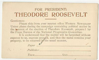 1912 For President Theodore Roosevelt Western Newspaper Union Chicago Postcard