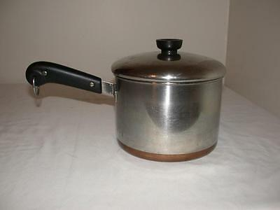 Stainless Steel Revere Ware 3 Quart Sauce Pan W/ Lid & Copper Clad Double Circle