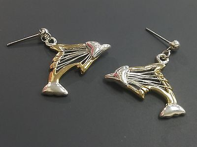 Lovely Vintage Dolphin Dangle Earrings In Silver Wire On Gold Tone Metal