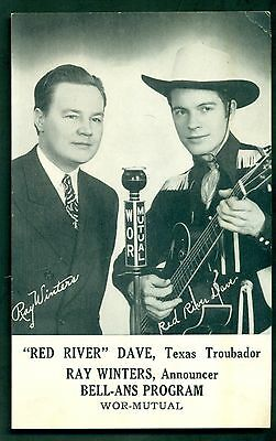 "1940's ""Red River"" Dave,Texas Troubador WOR Radio Promotional Photo Card"
