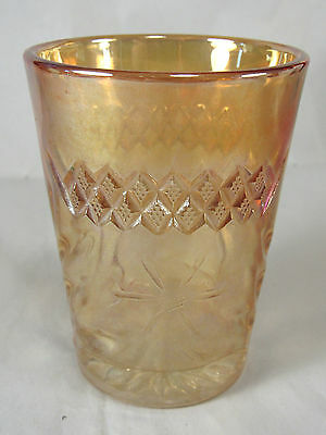 U.S.Glass Floral & Diamond Band Pattern Tumbler,Marigold Carnival Iridescent
