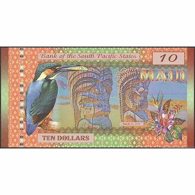 TWN - MAUI Hawaii - 10 Dollars 2015 UNC Polymer Private issue