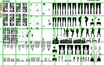 NH093 DAVE'S DECALS 1/2 Set N SCALE WINDOW SILHOUETTE CURTAIN PEOPLE BROKEN GLA